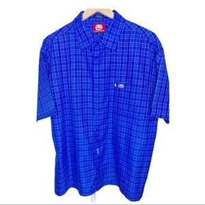 Ecko Unltd The Krut Blue Yellow Plaid Buttin Down
